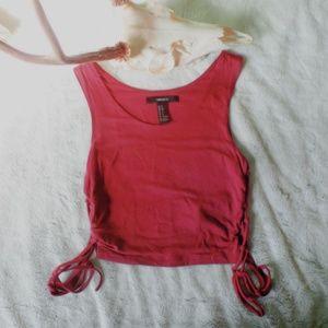 (nwot) burgundy side-tie crop top ♡
